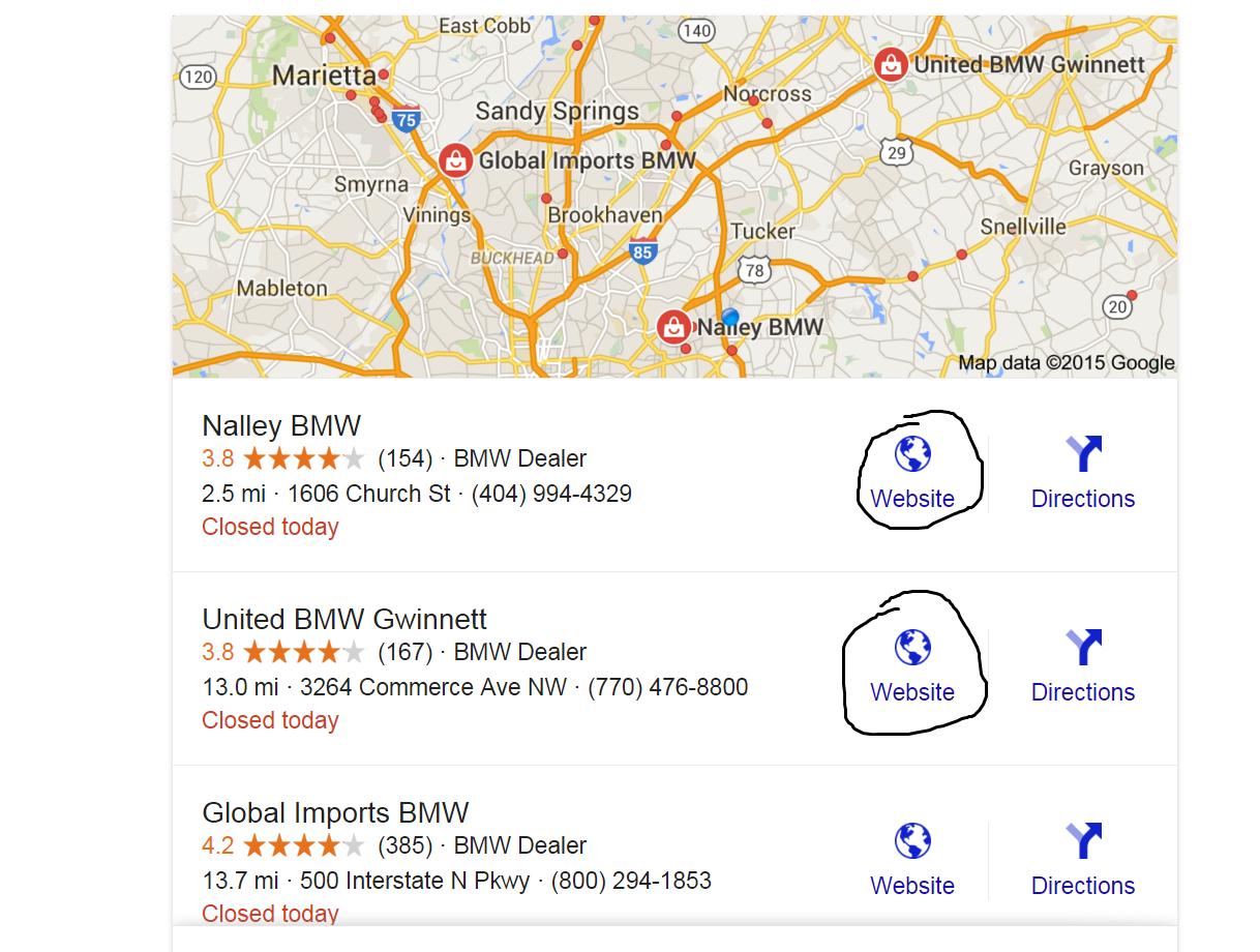 BMW dealership list