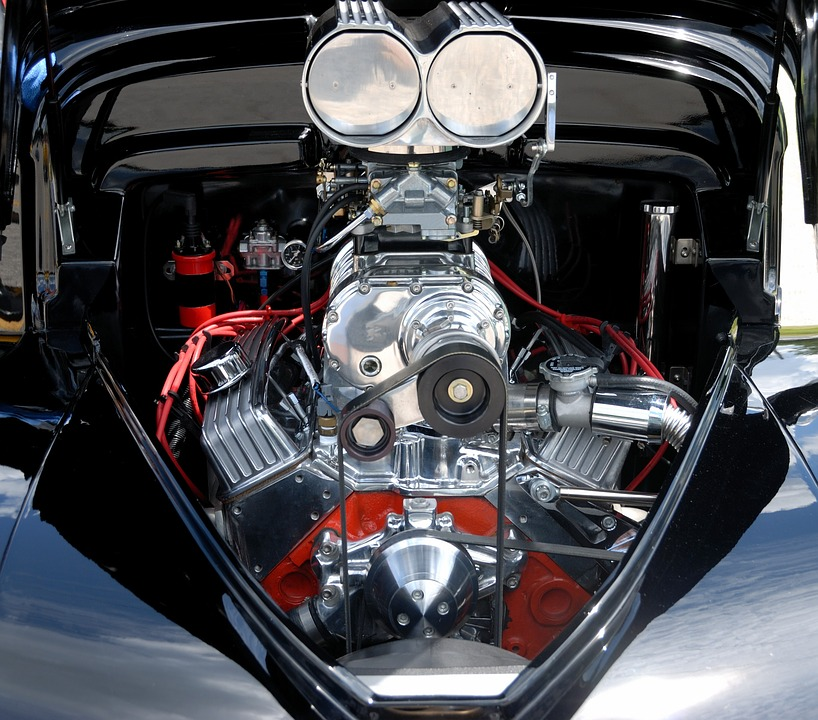a well-preserved car engine of a vintage car