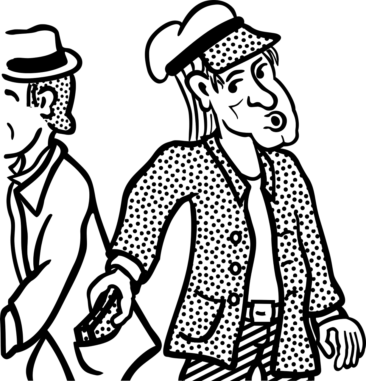 a drawing of a thief taking a wallet from another man's pocket