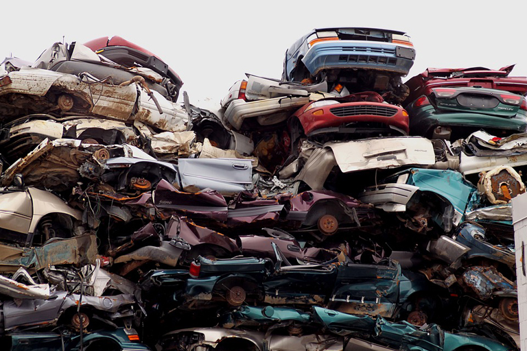 a pile of salvaged car