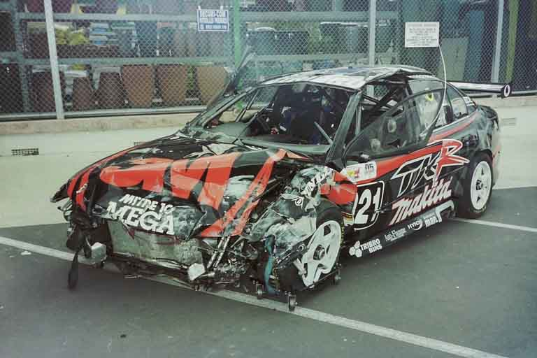 smashed up front of the racing car