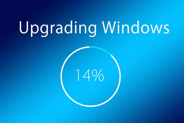 screenshot showing windows getting an upgrade with 14% already completed